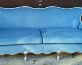 Vintage Blue Velvet Couch with Silver Trim Queen Anne Legs FREE SHIPPING!