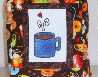 Keurig Coffee Maker Cover with appliqued coffee mug- Coffee Kitchen Decor