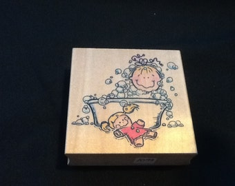 Baby and Bubbles Rubber Stamp