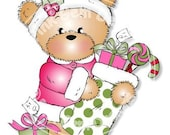 Digital (Digi) Bella with Stocking  Stamp. Makes Cute Christmas Cards. Teddy Bear