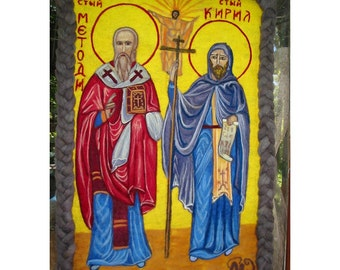 Sts. Kiril and Methodij,Religious Iconography,Felt Tapestry Icon,Orthodox Religious Icon,Classic Icon of Sts. Kiril and Methodij