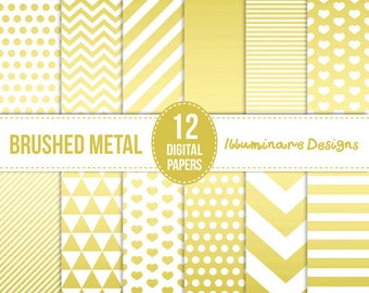 Gold Digital Paper: Metallic Gold Background Digital Scrapbooking Paper - Instant Download - Commercial Use OK - White and Gold Foil