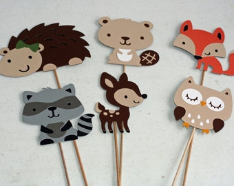 6 Woodland Table Decor or Centerpiece Sticks, forest animal, forest friends