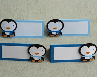 12 Penguin Placecards/Food table Cards, Winter Birthday, Winter Onederland Party, Snowflake Birthday