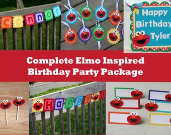 Elmo Party Package, Elmo Birthday Party Package, Elmo Complete Party Package, Elmo Birthday Set, Elmo Package, Elmo Birthday Party