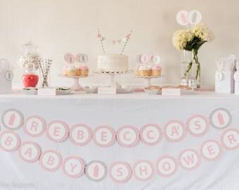 CUSTOM Name -  BABY SHOWER Banner, Bottle Baby Shower Decoration, Baby Shower Banner, Pink Gray Decorations, Baby Shower Sign