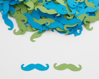Little Man Birthday Party - Baby Boy Shower Decoration - Mustache Confetti - Blue Green