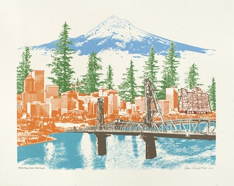 Portland Art // Print // Skyline // Oregon Art // Collage // Cityscape // Watching Over Portland - 8.5x11, 11x14, and 16x20 Poster