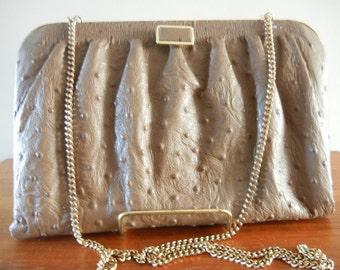 Vintage  Ostrich Leather Handbag Purse  Excellent Condition Elegant  Vintage Bag Ostrich Leather