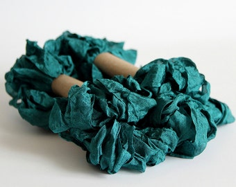5 m - 5.4 yards - MARINA TEAL Shabby Wrinkled Ribbon - Crinkled Seam Binding Ribbon