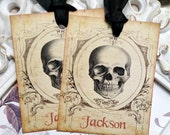 Personalized Skull Gift Tags (6) Aged Halloween Tags-Candy Bag Tags-Favor Tags-Skeleton Gift Tags-Tags for Halloween-Treat Bag Tags