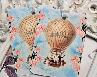 Shabby Hot Air Balloon Tag (6) Up Up Away Birthday-Balloon Gift Tag-Shabby Gift Tag-Shabby Balloon Tag-Treat Tag-Vintage Style Tag-Favor Tag