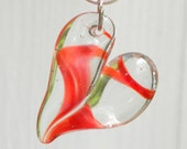 On Sale Heart Necklace, Glass Jewelry Pendant Lampwork Hand Blown Boro Heart  Twisted Red