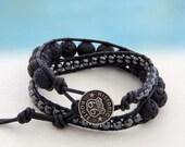 MIB Man In Black... Men's double leather wrap bracelet... Original OceanBead Style.