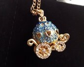 Blue Carriage Necklace. Fairytale. Royalty. Princess. Gold. Crystal Rhinestones. Under 25. Gifts for Her. Long Chain.