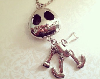 Dancing Skeleton Necklace. Necklace with Moving Parts. Long Silver Ball Chain. Cute Skeleton. Skull. Oddities. Whimsical. Halloween. Gifts