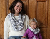 Mommy and Me Grey Plaid Infinity Scarf Set