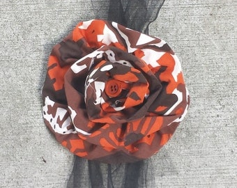 Upcycled Steampunk Clothing - Wrist Corsage Wedding Graduation - Orange, Brown, Cream Print with Black Tulle, Ribbon Ties and Vintage Button