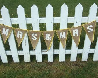 Upcycled MRS & MRS Burlap Banner white (with yeloow felt backing) - Eco-Friendly Wedding Decor