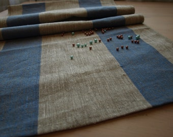 """SALE Linen Runner 19""""x99"""" Natural Grey and Blue Striped"""