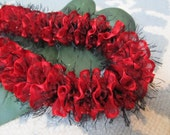 Hawaiian Ribbon Lei Red & Black Lehua