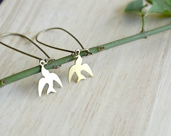 Small Brass Bird Dangle Earrings Long Dangle Earrings Raw Brass Gold Birds Nature Jewelry - T102