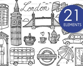London Doodle Clip Art, England Clipart, PNG, Instant Download, British, Big Ben, Bridge, Tea, Telephone Booth, Taxi, Bus, Nedti Designs