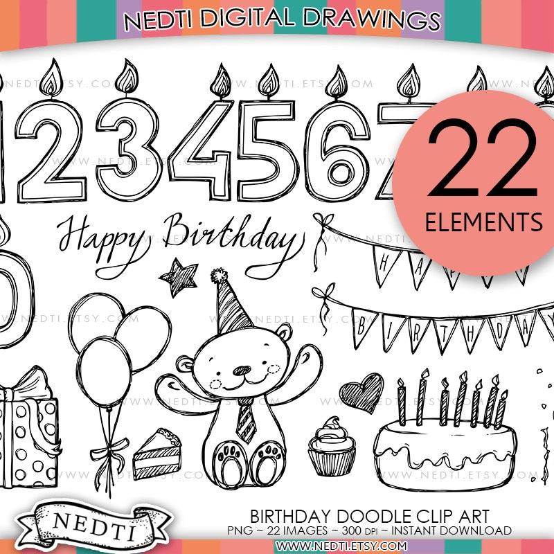 Birthday Doodle Clip Art PNG Instant Download Happy
