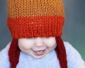 Firefly Inspired Older Baby Hat: Hand Knit Cunning Earflap Hat in Yellow, Orange and Rust