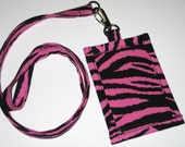 Zebra Stripe Print Cotton Clip On  ID Holder with Hidden Cash Stash with Optional  Lanyard