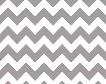 Chevron Cotton Fabric, Riley Blake Medium Gray Chevron 100% cotton, Gray 1 Yard Cut