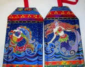 Laurel Burch Mermaids Fabric Custom Luggage Tag Destination Wedding Sea Ocean Travel Cruise Accessory Kids ID Backpack gift Card Holder