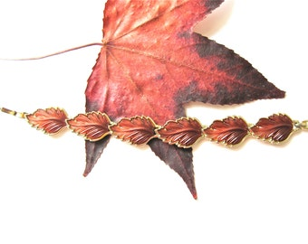 Leaf Bracelet Fall Autumn Fashion Jewelery with Gold Tone Vintage Rust Amber Color faux