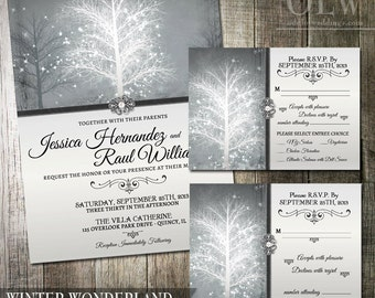 Winter Wonderland Wedding Invitation & RSVP Stationery Suite -Digital Printable - Elegant Grey and pearl wedding colors