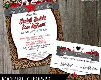 Rockabilly Animal Print Wedding Invitation And RSVP Card For That Offbeat  Wedding Roses Anchors Leopard Print