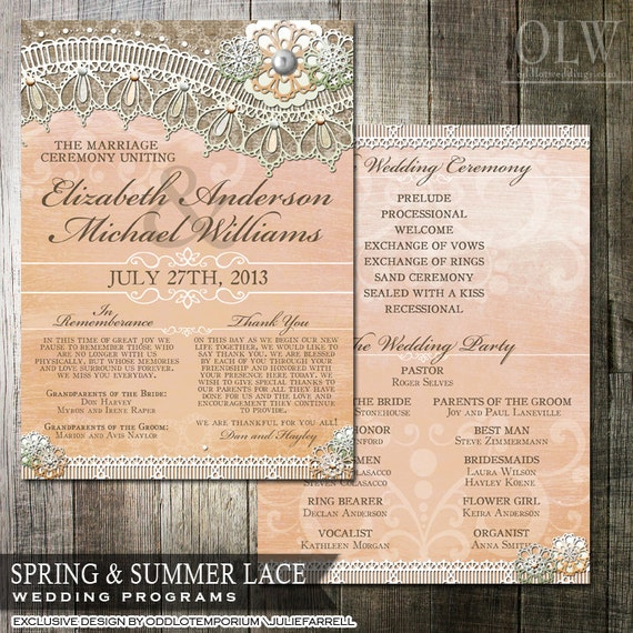Rustic Lace Wedding Program in Peach and Mint flowers and Burlap Border - 5x7 wedding program - Country Wedding
