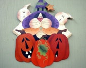 Halloween Holiday Decoration Pumpkins Ghosts Black Cat Tole Hand Painted Wood Wall Decor Home Living Art Collectibles Wall Hanging