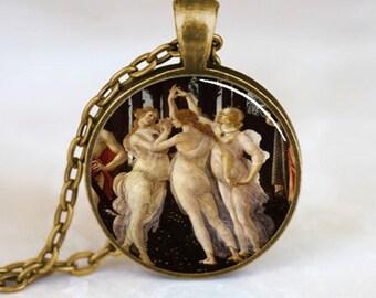 Botticelli's Three Graces Art Pendant, Greek Necklace Jewelry Pendant, Bronze (PD0472)