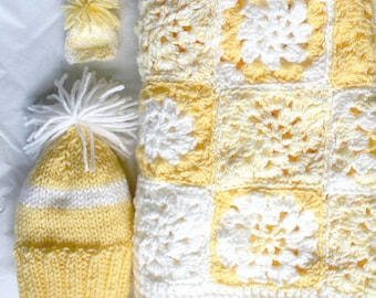 Yellow Crochet Baby Blanket- Knit Gift Set- Made To Order- Crocheted Granny Square Blanket- Knit Newborn Hat- Miniature Knit Beanie