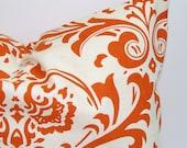 Orange Pillow, BURNT ORANGE Pillow Cover. Pillow Cover, Decorative Pillow, Throw Pillow, Floral Pillows, Pillow, All Sizes, Euro, Cushion