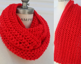 Red Knit Scarf Chunky Knit Scarf Hand Knitted Scarf Neckwarmer  Best Selling Items  - by PiYOYO