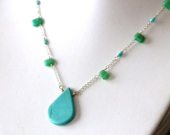 large teardrop turquoise pendant on sterling silver chain with sleeping beauty tube beads & chrysoprase beads, handcrafted  by girlthree