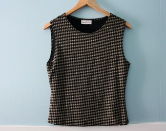 Women's vintage metallic tank top / black sleeveless shirt with gold and white pattern / size small