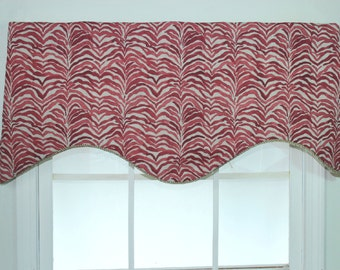 Tiger shaped valance in blue with twisted cord
