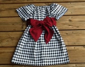 Girls Game Day Peasant Dress OR top & fabric Sash. Black White Houndstooth. Crimson Sash. Or any favorite team colors. By EverythingSorella