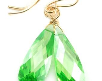 Peridot Green Cubic Zirconia Earrings Long Teardrop AAA CZ  Sterling Silver or 14k Gold Filled