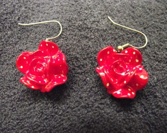 Red Flowers with white dots earrings Free Shipping