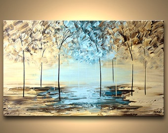 """Textured Modern Blooming Tree Painting Forest Original Abstract Landscape Palette Knife Painting by Osnat - MADE-TO-ORDER - 36""""x24"""""""