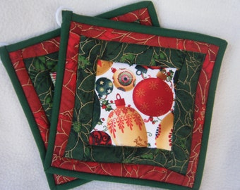 Quilted Christmas Ornaments Potholders - Set of 2