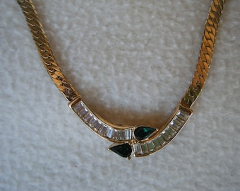 Vintage Park Lane Gold Toned Necklace with Rhinestones Includes Matching Earrings Circa 1980's